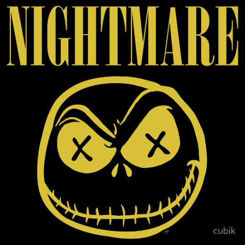 "robpwood:  'NIGHTMARE' ""I saw a fabric patch of the Nirvana 'smiley' design next to a patch of Jack Skeleton in a shop window in town and I though they'd look pretty cool merged. So, I did it. Not going to attempt to tenuously link them together or anything, just did the design and thought you might like it."" Available at RedBubble.com"