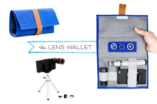 The Lens Wallet is like a tiny camera bag for your phoneography lenses! You can choose to get just the Wallet or the Wallet with the Phone Lens Series and a Telephoto iPhone Lens inside. Pretty awesometown, eh? The iPhone Lens Wallet, a Phoneography Camera Bag