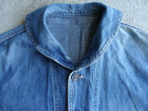 Shawl Collar U.S.N. Denim Deck Jacket. Found