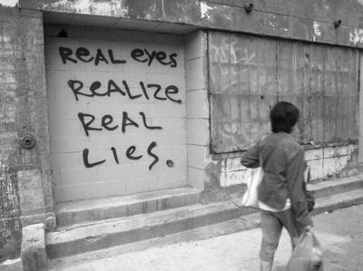 Clever,Creativity,Graffiti,Grafitti,Lies,Philosophy - inspiring picture on PicShip.com on We Heart It. http://weheartit.com/entry/56339427/via/Inity