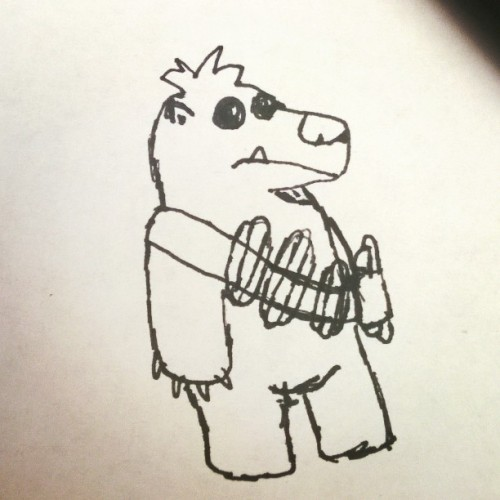 I wanted to see a bear wearing a bandolier filled with hot dogs. I drew it and I was not let down.