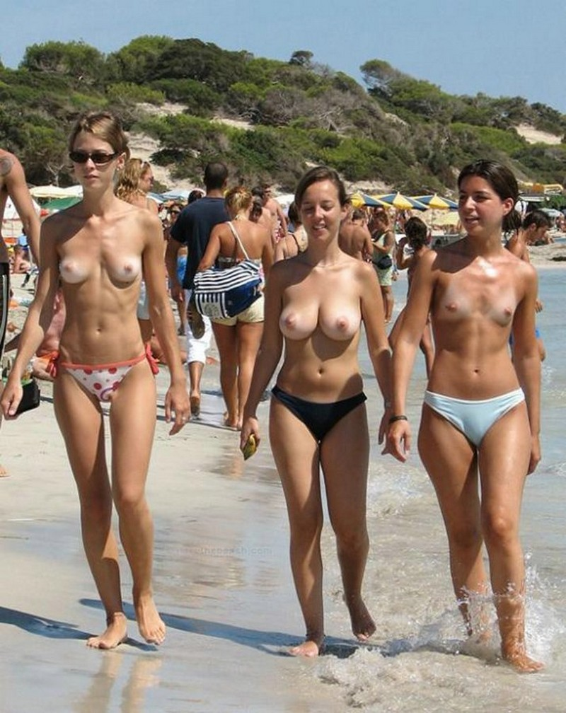 Topless group spring break nude beach