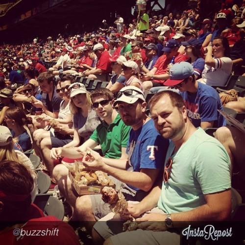 Hanging with (almost) the whole team here at the @Rangers game. // photo via @buzzshift (at Rangers Ballpark In Arlington)