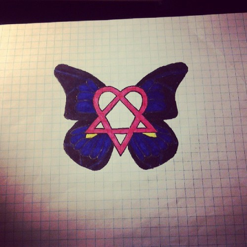 "A #heartagram #drawing my first year in high school. Idea of the wings came from the song title ""Wings of a buttterfly"" #HIM #WingsOfAButterFly"