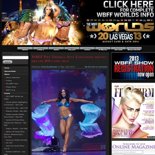 Today my story was featured on the #wbff #site Click here http://wbffshows.com/frank-budelewski/2013/05/13/blogs/wbff-pro-theresa-jenn-lopetrone-proves-dreams-do-come-true/ to see how well you know me 😉 #progress #journey