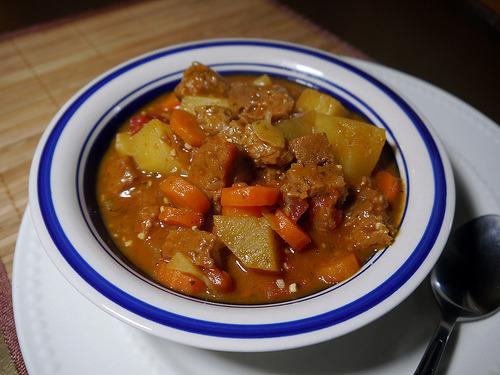 Seitan Brew Stew from Tami Noyes's American Vegan Kitchen (page 83). With homemade seitan!