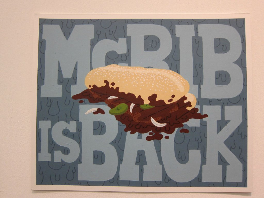 "sirmitchell:  rubthatnub:  McRib is Back by Jonathan Devis His teacher told him to take art more seriously… and here is his rebuttal on his final project.  Brilliance. Don't ever let an art teacher tell you what you need to do to be an ""artist"". That's up to you. This kid fucking rules.    Artist statements: everybody else is doing it wrong."