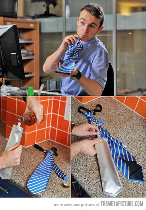 The only tie to wear on casual Friday: A flask tie.