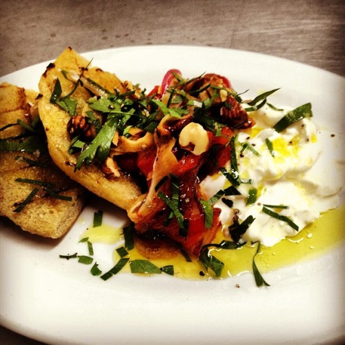 Special snack: Straciatella & roasted red pepper salad w Oregon hazelnuts, grilled focaccia & parsley