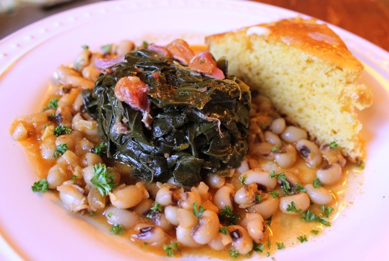 Collard Greens, Spicy black-eyed peas and sweet Cornbread.