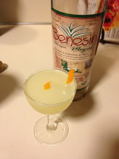 Oaxacan Daisy 11/2 oz mezcal 1 oz Cointreau  3/4 oz fresh Meyer lemon juice Combine all ingredients in a shaker over ice and shake until well chilled. Double strain into a cocktail glass and garnish with a Meyer lemon twist.