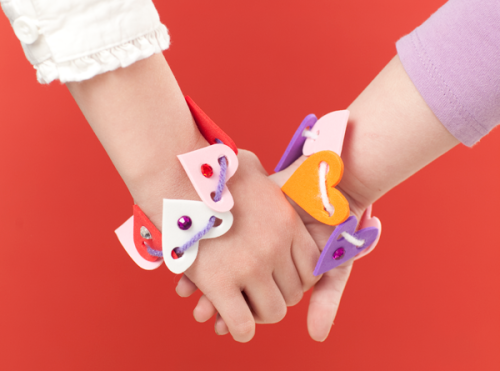 DIY Craft Foam Hearts Valentines Day Friendship Braclet Tutorial from Make and Takes here.