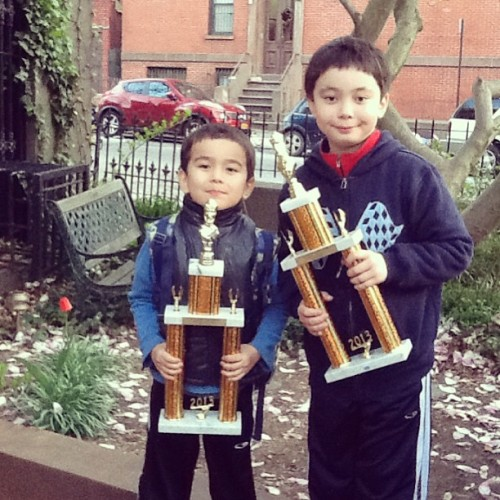 More chess hardware for the mighty Underwood brothers of #ParkSlope. A tie for 1st & a 2nd. So proud. #fb