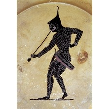 Black-figured plate. Made in Athens c. 520-500 BCThe plate depitcts an archer blowing a trumpet. The archer's unusual costume shows him to be a Scythian. The Scythian people were often employed as mercenaries by Athens in the sixth century BC. Held in the British Museum. http://www.britishmuseum.org/explore/highlights/highlight_objects/gr/b/black-figured_plate.aspx