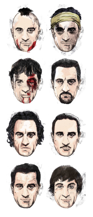eatsleepdraw:  The many faces of Robert De Niro by Matthew Brazier http://matthewbrazier.tumblr.com