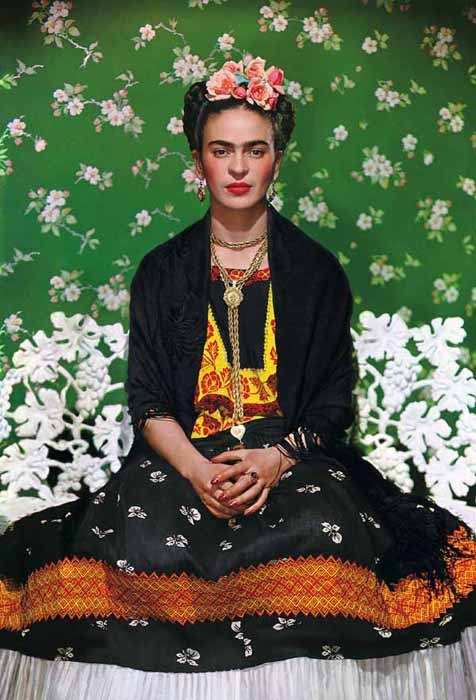 Frieda Kahlo on white bench