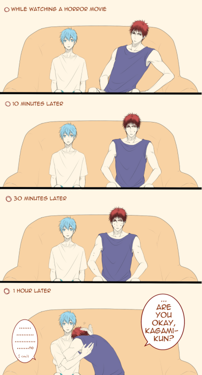 "apollonblue:  Translated several comics by ミカ.  All of them are part of a series(?) called 「(ボクの)火神君が____すぎて困ります」, or ""(My) Kagami is so ____  that it bothers me."""