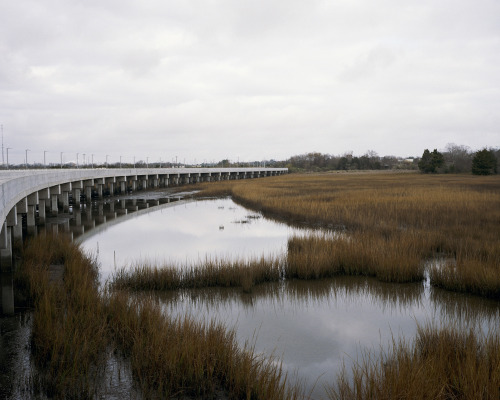 "BRIDGE TO NOWHERE, or BUILD IT AND THEY WON'T COME - CHARLESTON, SOUTH CAROLINA Bridges are a necessity, especially in South Carolina's Lowcountry. The swampy ground and tidal marsh make road building tricky on the eastern seaboard of the Palmetto State. More often than not, it's easier to go over the pluff mud than through it. As a commuter in the Lowcountry chances are you will cross over a bridge or three on your daily trek. Small and large, old and new, modern and classical – these bridges come in many shapes and sizes. Recently, the most talked about bridge in Charleston is not the tallest, or the longest, or the grandest – no, oddly enough it is the least used. It has been deemed ""the bridge to nowhere"" by locals. It's not very often you see a bridge that is devoid of not only people, but automobiles as well. You're more likely to see friends of a feathered nature on this unused stretch of roadway than anything resembling a human. So what happened? The area where this bridge was constructed was largely polluted and vacant, but a renewal project was slotted to revitalize and repurpose the forgotten region into a viable community of commercial and residential developments, connected by this concrete span to the area near I-26. ""2009"" is innocuously inscribed on both ends of the bridge. It seems a harmless enough date, but many of us remember it as the year the recession bottomed out. 2008-2013 have been economically some of the hardest since the legendary Great Depression of the 1930s. And not even good intentions were spared during the financial downturn. The construction of homes and shops is on hold until demand returns to the real estate market. In the meantime, the white ibises have the place to themselves for a little longer and the bridge serves as a symbol of the economic collapse we as Americans have all endured. * * * John Lusk Hathaway is a State Guide to South Carolina and an At-Large Guide to the Southeast. He was born in Memphis Tennessee, and recently lived in Bali, Indonesia—so acclimating to the sweltering summers of the Lowcountry hasn't been a problem. When he isn't making pictures with old film cameras or burping a baby, he enjoys playing clawhammer banjo and surfing at Folly Beach. Follow him on Tumblr at johnluskhathaway or on his website, JohnLuskHathaway.com."