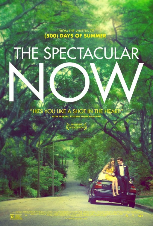 Poster for the coming-of-age, comedy-drama The Spectacular Now.  The film premiered at Sundance where it received very positive reviews and the two leads, Shailene Woodley and Miles Teller, both won acting awards for their performances! [source]
