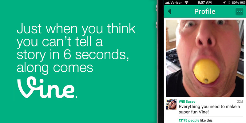 "Great content now comes in small 6-second packages. Vine, an app that recently has made serious waves in the social world, gives users the ability to easily record up to 6 seconds of video and share it instantly. But you probably already knew all that. Before you lump Vine into the same category as Viddy and Socialcam, you have to realize that it's different. By implementing a simple ""tap to record"" interface, it's extremely easy to record at an exact moment, and add as many moments until you reach six seconds. No editing, no splicing, no mixing…just sweet simplicity. And to top it off, Vine's feed is easy to consume. No play or stop buttons, just scroll and watch. Think Instagram, but the pictures now move. (Now that I've regularly used Vine for the last three months, I find myself expecting my Instagram photos to move at times. ""Come on, photo of a waterfall…move!"") Six seconds doesn't sound like a long time, but you'd be surprised. It's been truly amazing to watch some big content come in such a small package. If you haven't had a chance to see comedian Will Sasso's Vine account, you're really missing out on something special. His hilarious battles with lemons, dead on Arnold Schwarzenegger impressions, and moments with his mother keep me on the edge of my Vine seat waiting for the next brilliant piece of comedy. Who would of thought that the content that I'm now craving the most isn't on the big screen or television, but a six second video on the screen of my phone. As brands search for how to use Vine, maybe they can take a nod from the Will Sasso's out there. Telling a great story can be done, as long as it's unique and not trying to push a product message. And what's stopping a brand from reaching out to great talent out there to tell that story? They do it at times in their tv spots. It'll be interesting to watch what happens in the future. In the meantime, follow Will Sasso's Vine account. You'll thank me later."