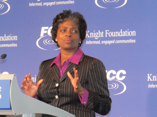 firstwoman:  Mignon Clyburn has become the first woman to lead the Federal Communications Commission. She took over as acting chair at 12:01 a.m. on Saturday and awaits confirmation from the Senate.  Photo: Flickr/Knight Foundation