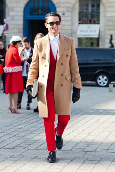 details:  Street Style: Stop-Sign Red Suiting