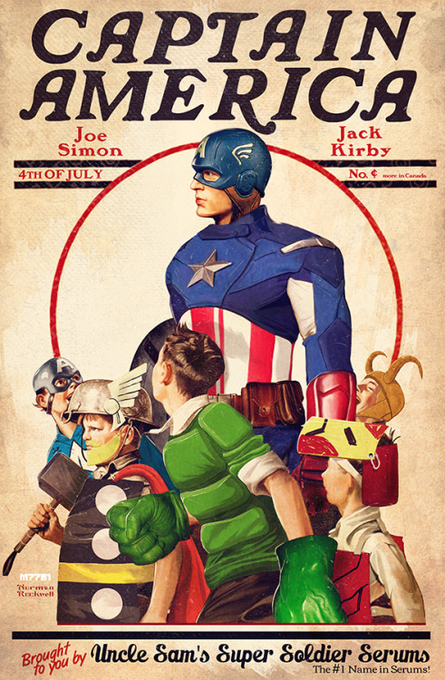 professorthorgi:  captain america x rockwell by m7781   This is one of the best pictures I've seen in a long time.