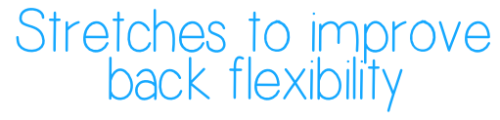 becky-fitness:  Here are some stretches to help your back flexibility, ranging from beginner to more advanced.  Click on photos to make them bigger. Please warm up before stretching to avoid hurting yourself!  Aim to hold each stretch for at least 30 seconds. Don't force your body. Take it slow and your flexibility will come with time. Give your body rest days!  I track the tag #beckyfitness, I'd love to see your progress :)