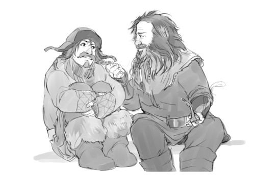 kaciart:  Bifur cheering up a mopey young Bofur. Not that it takes much to cheer him up.