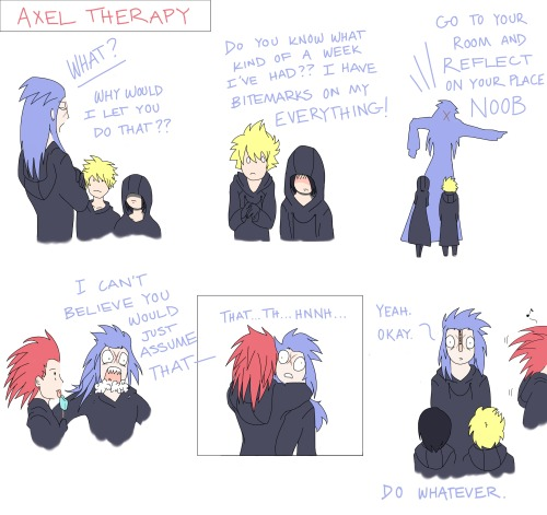 sidereal-snickers:  A non-KH friend's impression of Axel & Saix in 358/2 Days.