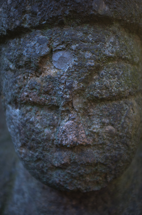Face of Buddha sculpture from the 12th century, Nezu Museum Garden.