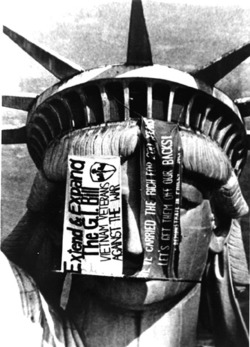 "ryanpanos:  Vietnam Veterans Against the War occupy the Statue of Liberty via Retronaut ""On December 26, 1971, fifteen VVAW activists barricaded and occupied the Statue of Liberty for two days in a successful attempt to bring attention to the antiwar cause. VVAW occupied the Statue of Liberty a second time in 1976 to bring renewed attention to veteran issues."" - Wikipedia"