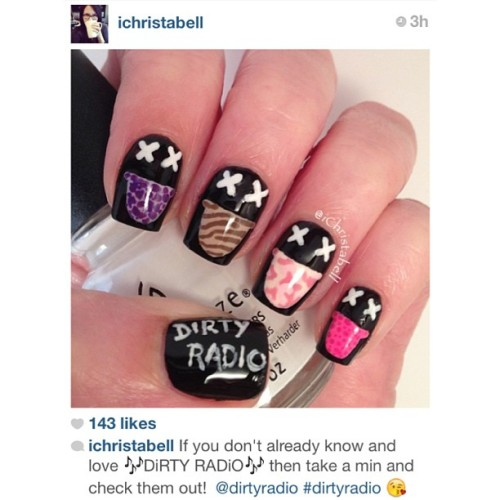 "Shout out to @ichristabell for these awesome DiRTY RADiO ""LiCK"" nails! Amazing … #dirtyradio #lick1.0 #lick2013 #fresh #nails #nailsdid #dope #rad #fanlove #radioer"