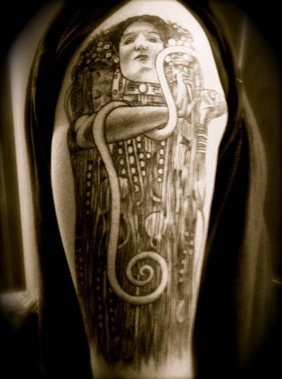 Klimt's Hygeia done by Megan Hoogland at Paradise Tattoo Gathering in Keystone, CO.