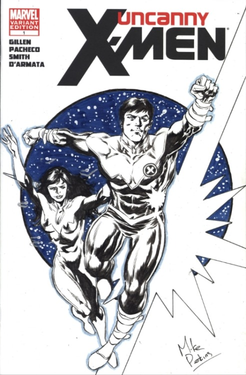 Northstar and Aurora convention cover sketch by Mike Perkins
