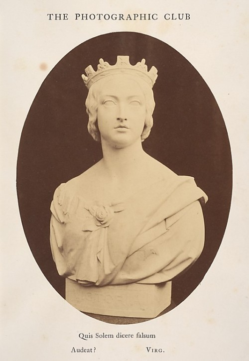 hismarmorealcalm:  Joseph Durham (1814-1877) Bust of Her Majesty Queen Victoria  Photograph by Hugh Welch Diamond 1857