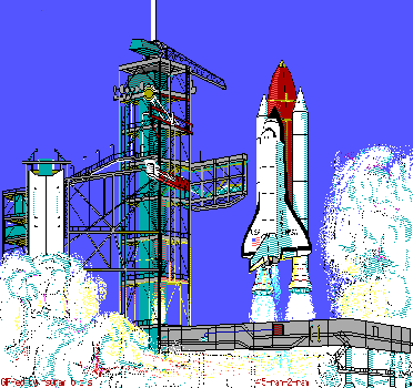 blockygraphics:  BLASTOFF.BMP; photo bundled with the math education program Flashmath, because math is like rockets. (info). (Retrieved from the Education Platinum for Windows CD by y Limelight Media, Inc. (1994), via cd.textfiles.com.)  math is like rockets