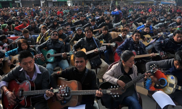 Today in Darjeeling, India: 600 guitarists play Lennon's Imagine in tribute to the 23-year old rape victim.