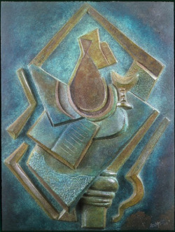 Still Life with Book and Vase on Table Alexander Archipenko (Ukraine, active France, Germany, and the United States, 1887-1964) France, 1918 Sculpture Polychromed bronze 13 3/4 x 18 in. (34.92 x 45.72 cm) Partial, fractional and promised gift of Janice and Henri Lazarof (M.2005.70.2) Modern Art (via Still Life with Book and Vase on Table | LACMA Collections)