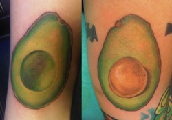 fuckyeahtattoos:  my best friend and I got avocado tattoos from Taija Rae at Living Canvas Tattoos in Tempe, AZ. I'm so happy with the way they turned out.