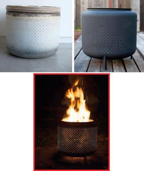 Upcycled washer lives on as a fire pit.
