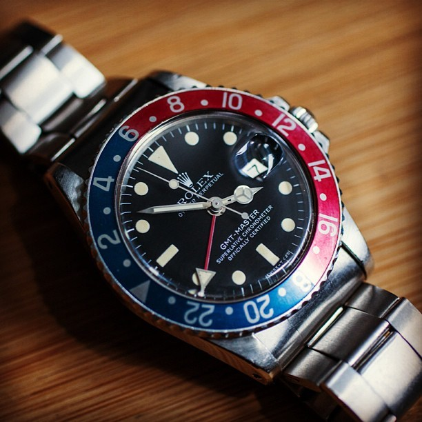 Want. @hodinkee:  Beautiful vintage Rolex GMT-Master for sale this weekend at our Chicago pop-up. At @haberdashmen till 7pm tonight.