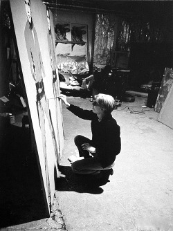 Andy Warhol working on Elvis I and II, 1963