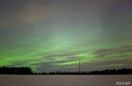 Northern lights in Belarus. Very-very unusial