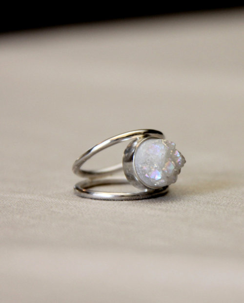 allaboutrings:  Sterling Silver and White Druzy Quartz Ring