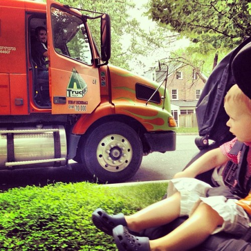 """Sweet ride, bro."" 🚛 ""Sick crocs, kid.""👍 #wheels #tonka #truck #crocs #walk #family #love #DC"