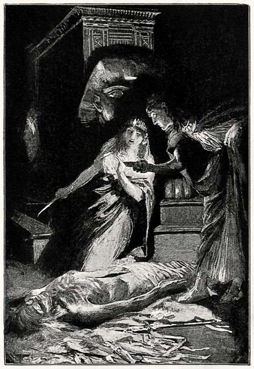 She held it to the light and gave a little cry.  From Cleopatra, by Henry Rider Haggard, London, 1894.  (Source: archive.org)