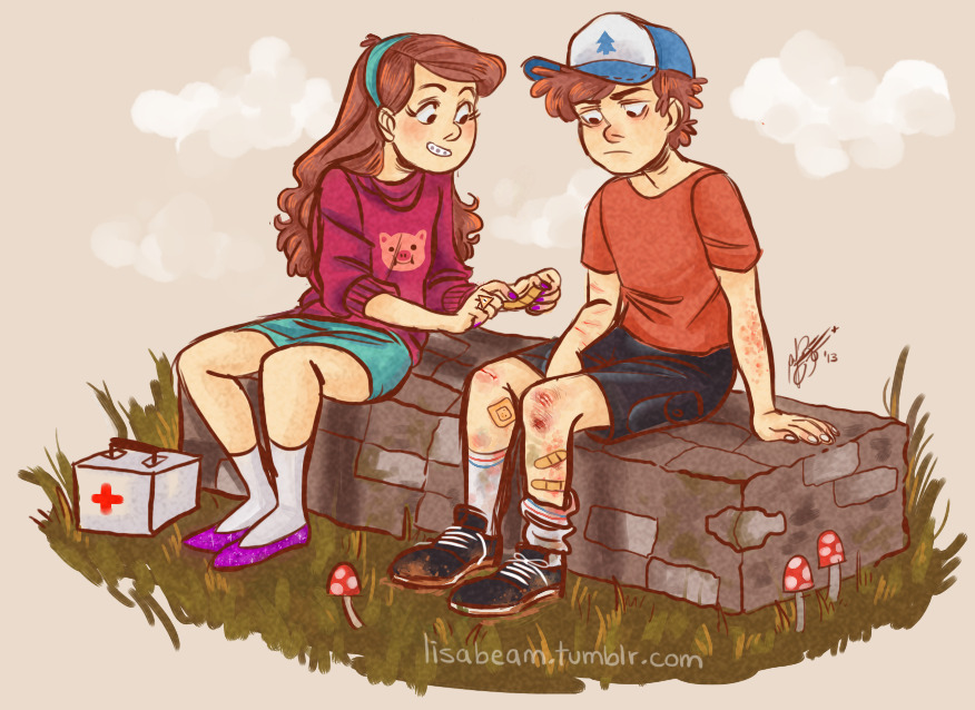 lisabeam:  dipper is always getting dirty and hurt and mabel is always there to take care of him