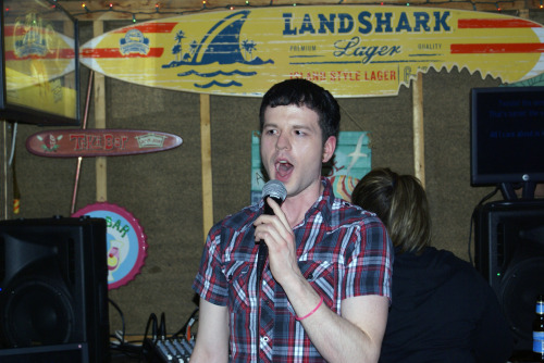 "Me, last Saturday — cast [Tiki] party. I decided for my first karaoke song to be ""All I Care About"", from Chicago. Unfortunately, Im not as familiar with the film version, so i think i could've been better."