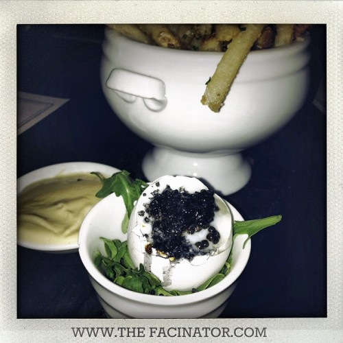 Truffled French Fries with a caviar stuffed soft boiled egg….there are no words.  Thank you @awatermanbassin @bassnyc. #thefacinator  (at San Francisco, Ca.  )